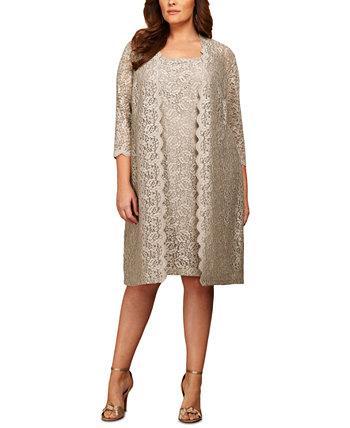 Кружевное платье-футляр больших размеров и куртка Alex Evenings