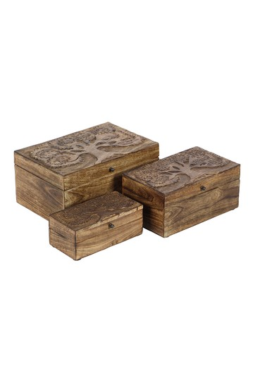 Brown Mango Wood Rustic Box - Set of 3 Willow Row