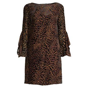 Бархатное выгоревшее платье с леопардовым принтом Esmarella Elie Tahari