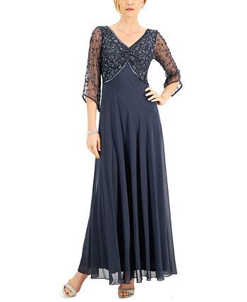 Вечернее платье с вышивкой из бисера J Kara