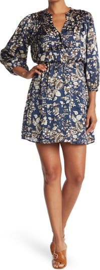 Платье с длинными рукавами и цветочным принтом со сборкой на талии Collective Concepts