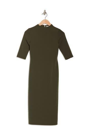 Delora Fitted Mock Neck Elbow Sleeve Midi Dress Alice + Olivia
