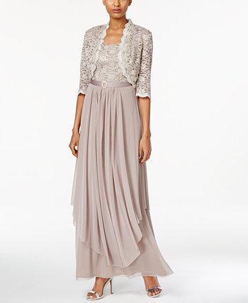 Кружевное платье и куртка R&M Richards с поясом и пайетками R & M Richards
