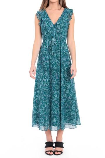 Платье миди без рукавов с каскадными оборками и принтом Donna Morgan