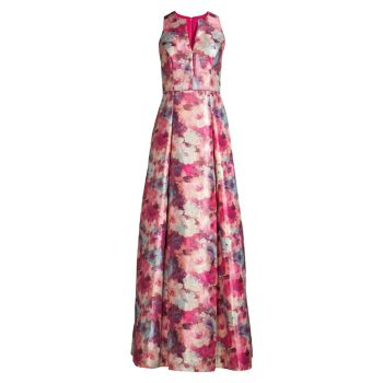 Жаккардовое платье с цветочным рисунком Aidan Mattox