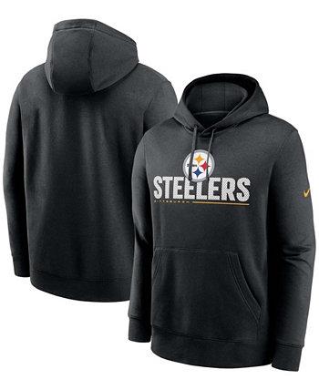 Черный мужской пуловер с капюшоном для больших и высоких Pittsburgh Steelers Team Impact Club Nike