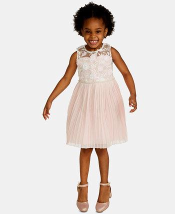 Платье со складками и вышивкой для маленьких девочек Rare Editions