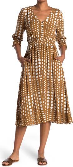 Платье макси с V-образным вырезом и рукавами 3/4 в горошек MELLODAY