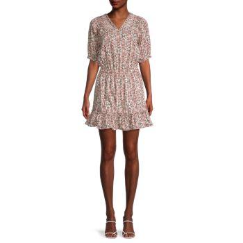 Мини-платье из эластичного хлопка с принтом Nicole Miller