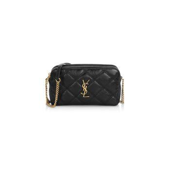 Кожаная сумка Becky с двойной молнией Saint Laurent