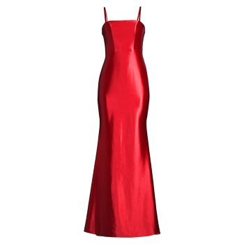 Атласное платье с открытой спиной и русалкой Faviana