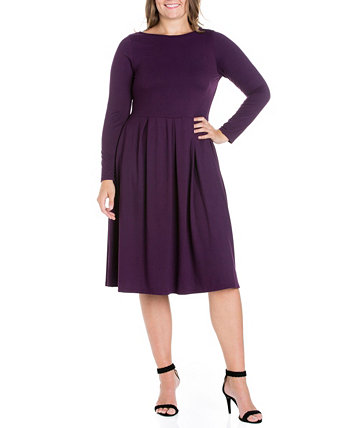Женское платье миди большого размера с пышной юбкой 24seven Comfort Apparel