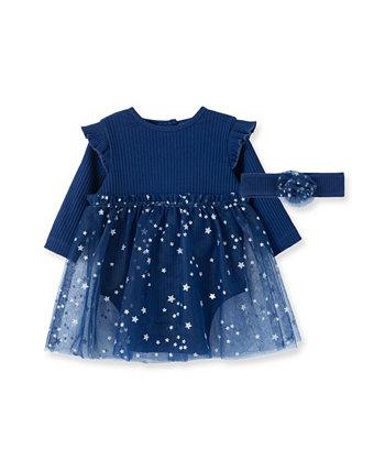 """Платье-пачка """"Звездная ночь"""" для маленьких девочек и соответствующий набор повязок на голову, 2 предмета Little Me"""