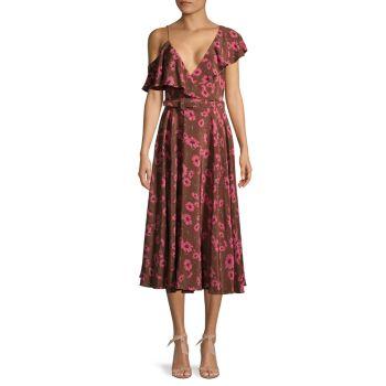 Асимметричное шелковое платье с цветочным принтом и оборками MICHAEL KORS COLLECTION