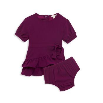 Baby Girl's 2-Piece Mock Wrap Ruffle Dress & Bloomers Set Habitual