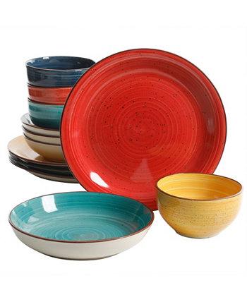 Набор столовой посуды Mix and Match с двойной чашей Color Speckle из 12 предметов Gibson