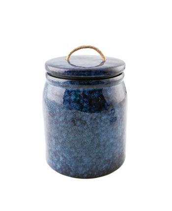Синяя керамическая канистра с веревочной ручкой, большая THIRSTYSTONE