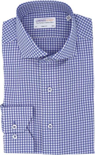 Классическая рубашка с фактурным принтом в мелкую клетку и отделкой Lorenzo Uomo