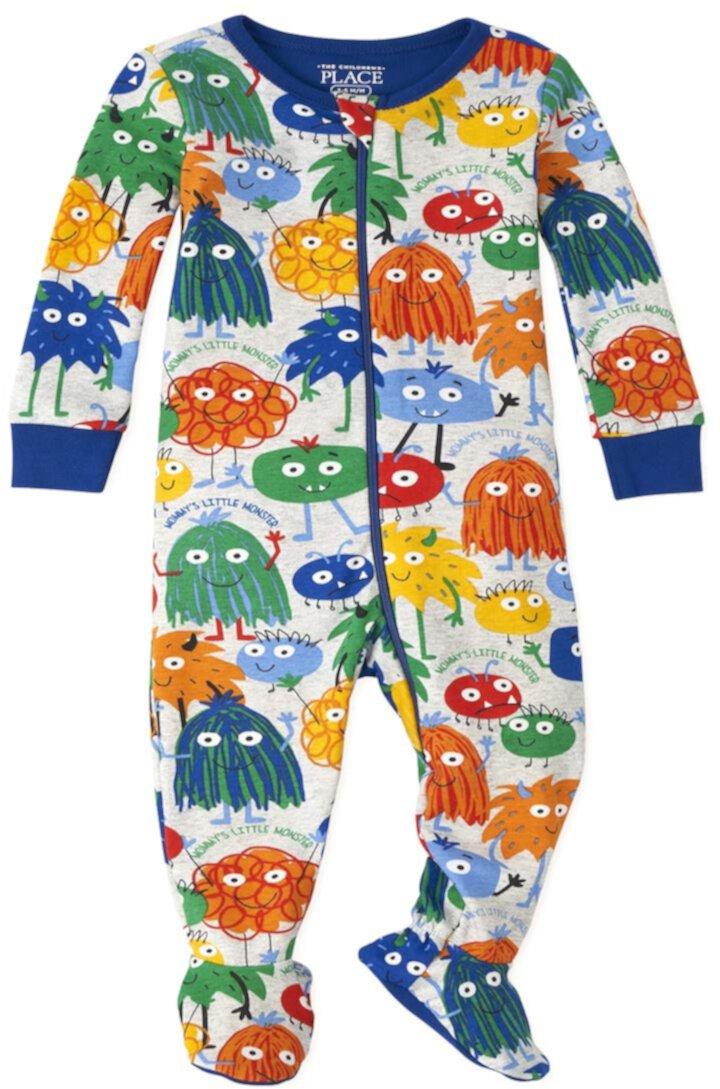 Пижамы плотного кроя из хлопка с рисунком монстра для малышей и малышей The Children's Place