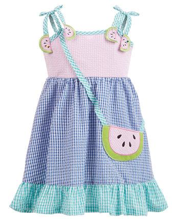 Платье с рисунком арбуза в мелкую клетку для маленьких девочек Blueberi Boulevard