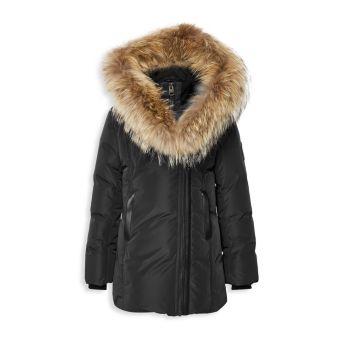 Girl's Coyote Fur-Trim Down Parka Mackage