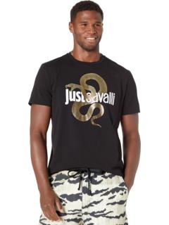 Gold Snake Logo T-Shirt Just Cavalli