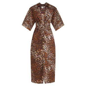 Льняное платье с принтом Seki VERONICA BEARD