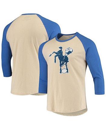 Men's Cream, Royal Indianapolis Colts Gridiron Classics Raglan 3/4 Sleeve T-shirt Majestic