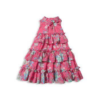 Little Girl's & Girl's Floral Ruffle Tiered Dress with Bloomers Janie and Jack