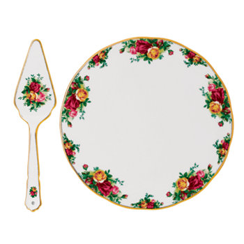 Тарелка и сервиз с розами из старых деревенских роз Royal Albert