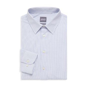 Современная классическая рубашка в клетку из хлопка Armani Collezioni