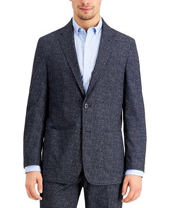 Синий мужской костюм с перфорацией и стрейч-синим стрейч-пиджаком в стиле модерн THTECH Tommy Hilfiger