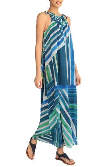 Платье макси с трапециевидным вырезом и завязками по бокам Ocean Stripe London Times