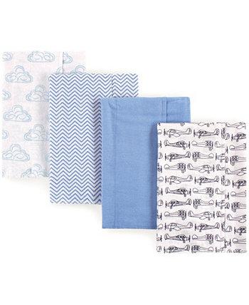 Фланелевая ткань отрыжка, 4 упаковки, один размер Hudson Baby