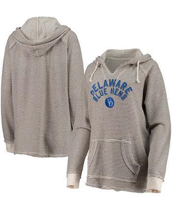 Женский пуловер с V-образным вырезом и V-образным вырезом кремового цвета Fightin 'Blue Hens в полоску с капюшоном Blue 84