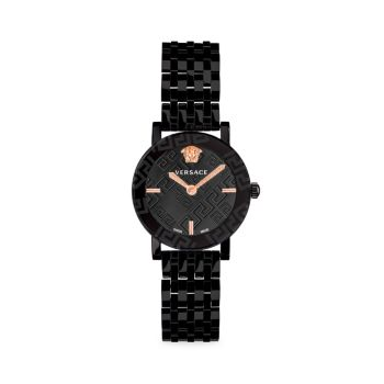Часы с браслетом из нержавеющей стали Greca Glass IP Blacktone Versace