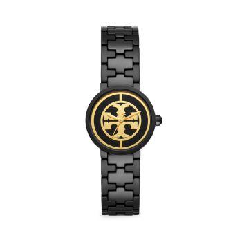 Часы Reva с черным браслетом из нержавеющей стали Tory Burch