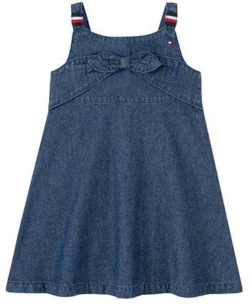 Фирменное джинсовое платье с завязками спереди для девочек Tommy Hilfiger