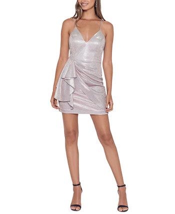 Juniors' V-Neck Metallic Dress Blondie Nites