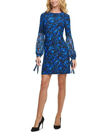 Floral-Print Chiffon-Sleeve Shift Dress Tommy Hilfiger