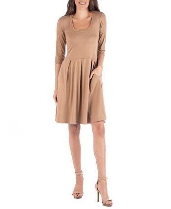 Мини-платье с расклешенными рукавами три четверти 24seven Comfort Apparel