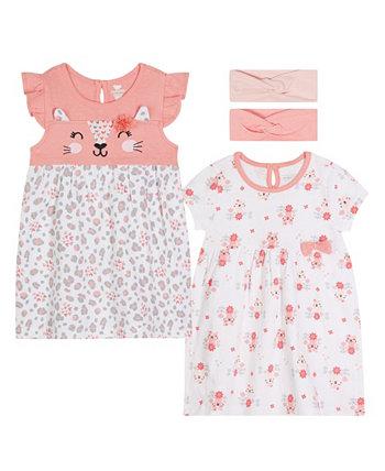 Комплект из 2 пар платьев с кошками для маленьких девочек с повязкой на голову Koala baby