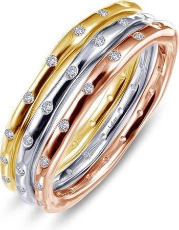 Набор колец из трехцветного серебра с имитацией бриллианта LaFonn