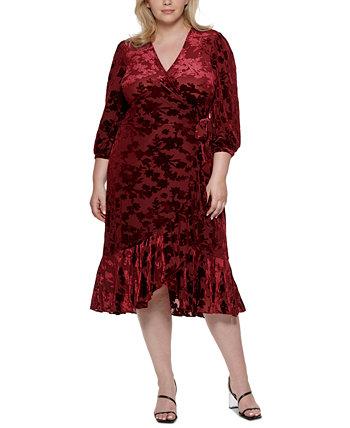 Платье больших размеров Surplice с оборками Calvin Klein