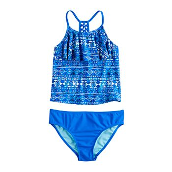 Girls 7-16 & Plus Size SO® Deep Blue Braided Back Strap Tankini Two-Piece Swimsuit SO