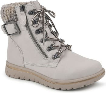 Hearty Knit Collar Lace-Up Boot Cliffs by White Mountain
