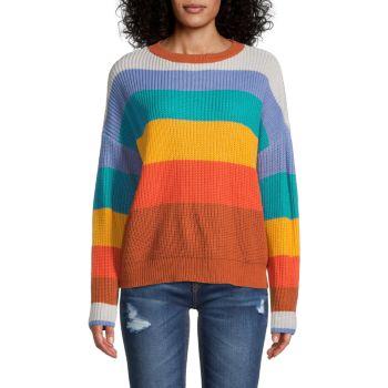 Полосатый свитер с заниженными плечами STELLAH