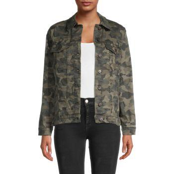 Джинсовая куртка оверсайз с камуфляжным принтом Nicole Miller