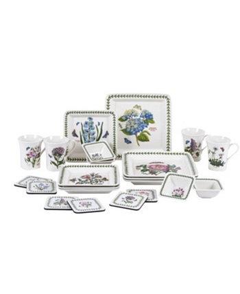 Набор квадратной посуды Botanic Garden из 22 предметов, созданный для Macy's Portmeirion