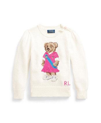 Свитер с медведем-поло для маленьких девочек Ralph Lauren